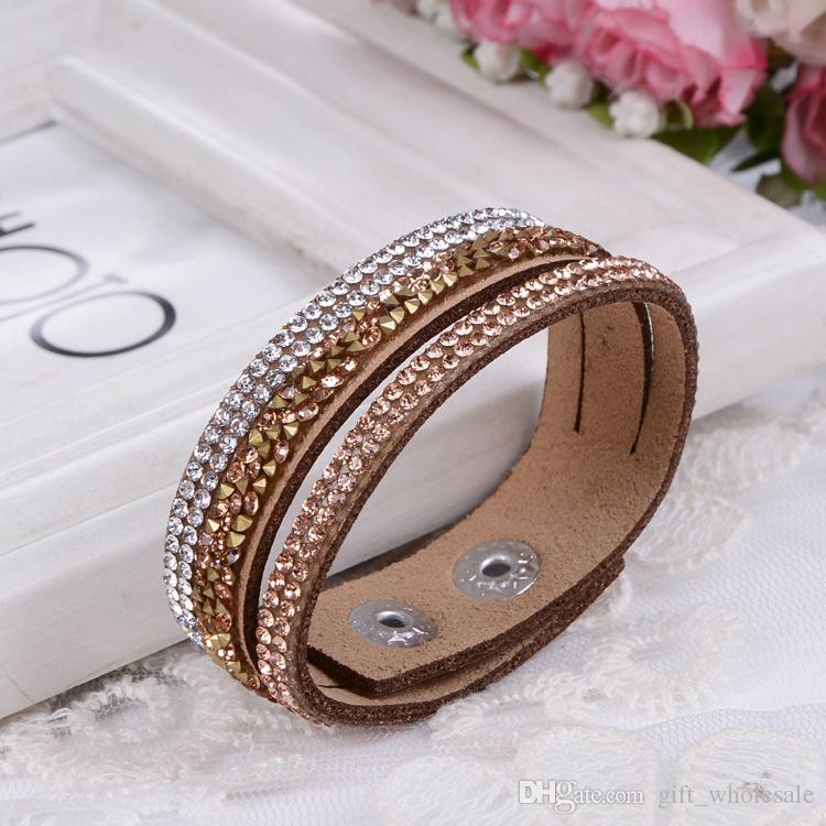 i Backward Strass Multilayer Wrap Bracelet PU colorato floccante in pelle Charm Braccialetti Wristband Donna Regalo di Natale