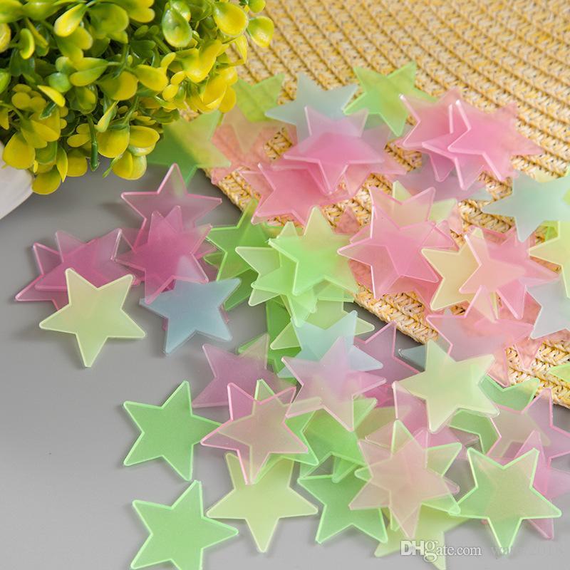 / Glow Stickers muraux Decal bébé Enfants Chambre Home Décor couleur des étoiles lumineuses fluorescentes 4 Couleurs 267