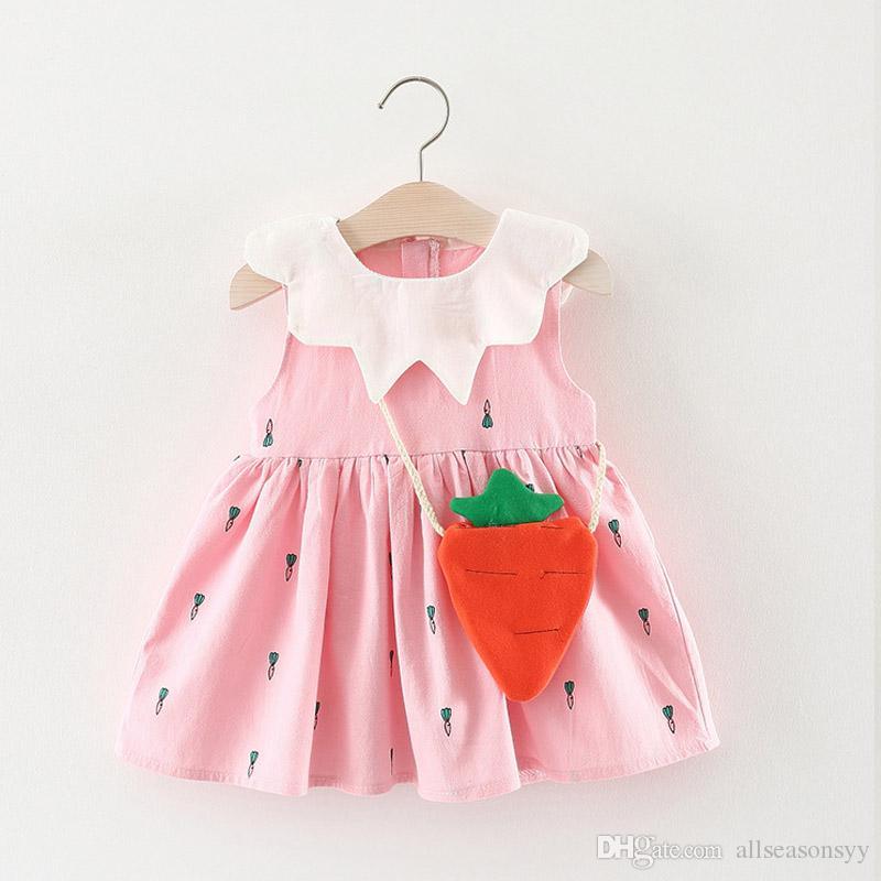 d59a0005b5d 2019 2018 Summer Baby Girls Dress Kids Girls Clothes Toddler Infant Cartoon  Print Sleeveless Party Birthday Cute Beach Frock From Allseasonsyy