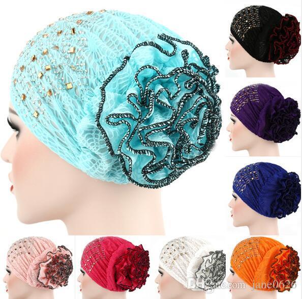 f627239ab01 Fashion Women Flower Muslim Ruffle Cancer Chemo Hat Beanie Scarf Turban  Head Wrap Cap Halloween Sequins Party Muslim Baotou Hat Online with   7.52 Piece on ...