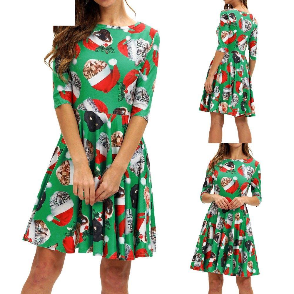 a08389764a4a JAYCOSIN Women Dress Autumn Casual Women's Ladies Fashion Half Sleeve Christmas  Cat Print Vintage Autumn Dress Dropshiping OCT31