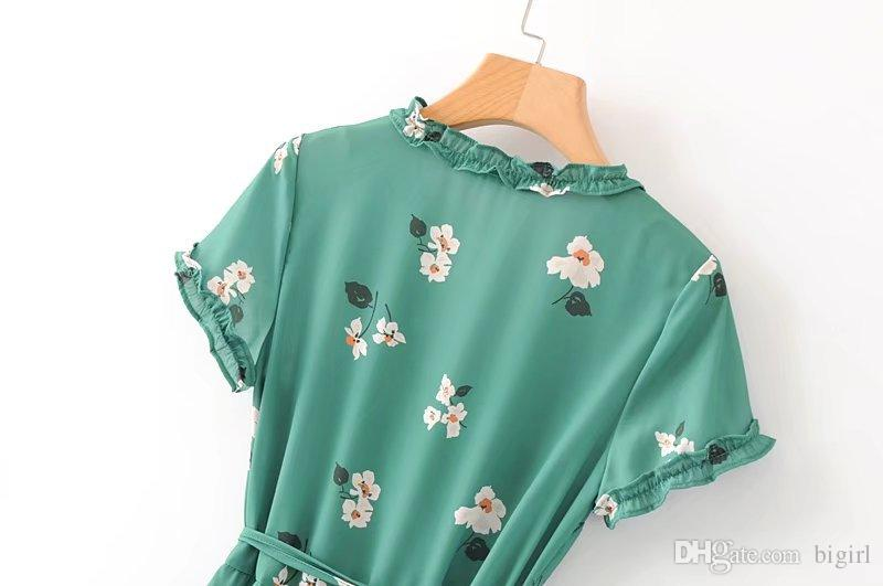 Summer Women Fashion Vintage Dress White Floral Printed Wooden Ear Sexy Midi Lace-up Female Short Sleeve Dresses Vestidos