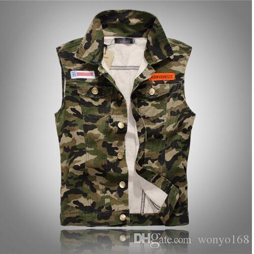 9ea2caa0598 2019 Men S Camouflage Denim Vest Men Camo Brand Clothing Male Jeans  Waistcoat Man Sleeveless Jackets Plus Menswear Tank Top Cowboy Waistcoat.
