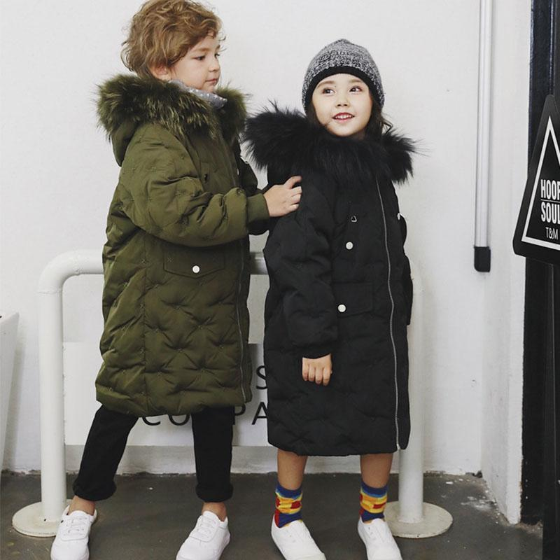 9eb004f99 snow wear children 80% white duck down jacket with big colorful fur collar  girl kid coat outerwear winter suit long 2 8 10 12y