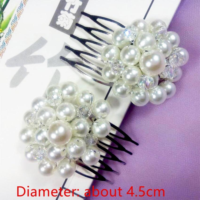 Novia de la princesa de la boda accesorios para el cabello perlas de imitación perlas flores peine del pelo nupcial dama de honor de la boda joyería
