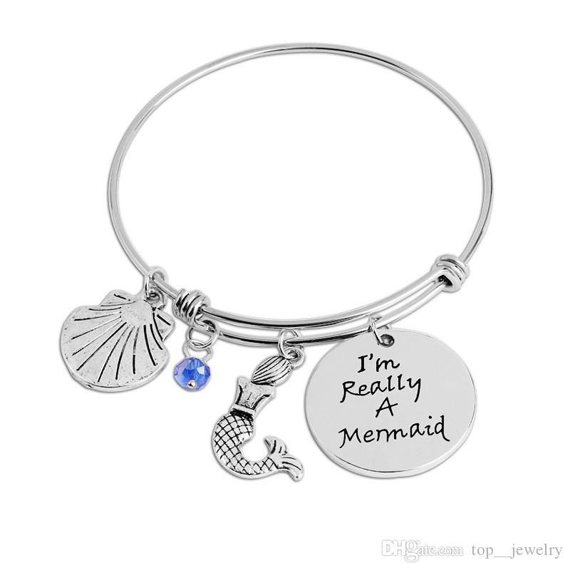 Creative I'm Really A Mermaid Bangle for Little Girl Bracelet Women Animal Mermaid Shell Party Dress Adjustable Bracelets and Bangles