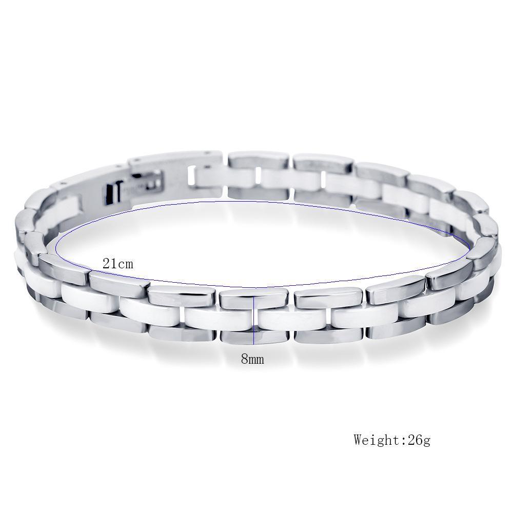 KUNIU 21 CM pulseras de cerámica blancas para mujer pulsera de acero inoxidable joyería del banquete de boda
