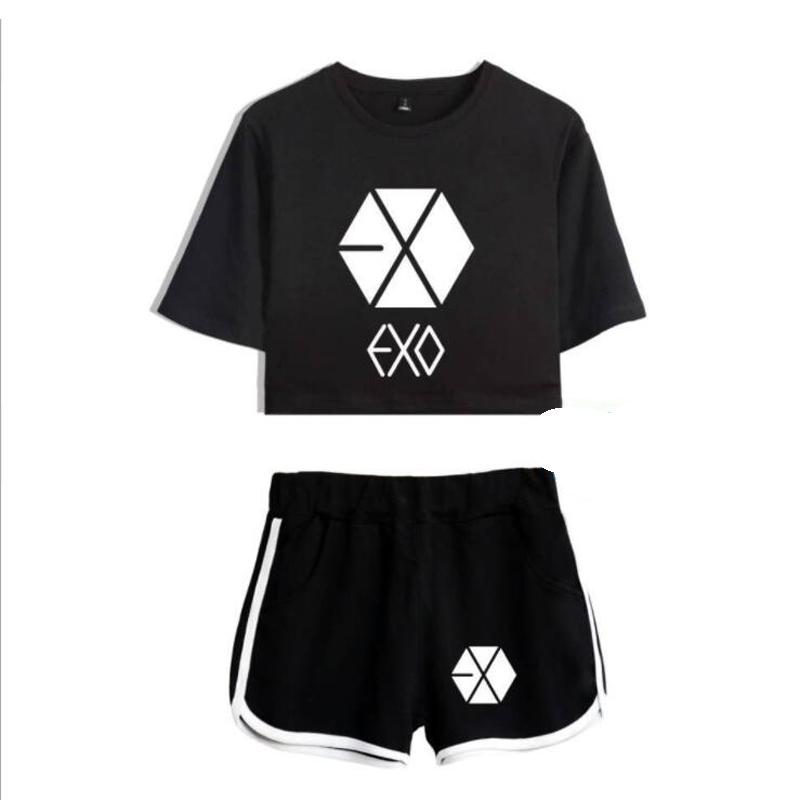 2019 Kpop Korean Exo Crop Top T Shirt Short Pants Tracksuit For