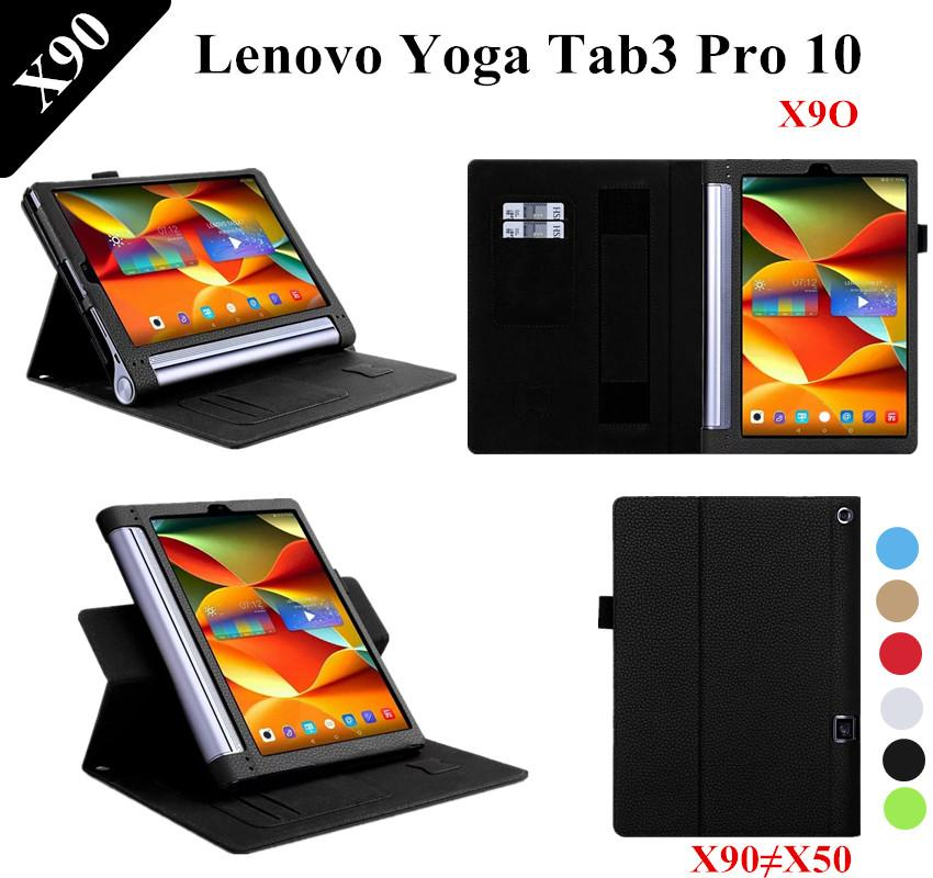 newest 93fce 91d3e Lichee Pattern YOGA Tab 3 plus Stand PU Leather Case For Lenovo YOGA Tab 3  Pro 10 X90 X90F Leather Cover Case YT-X703L X703F