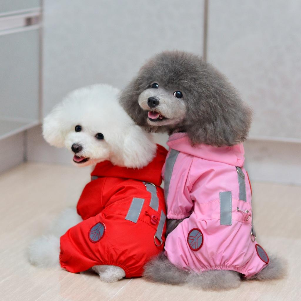 High quality Pet Dog Raincoat Waterproof Taffeta 4 legs Rainweart for Puppy dog Clothes supplies for Teddy Free Drop Shipping