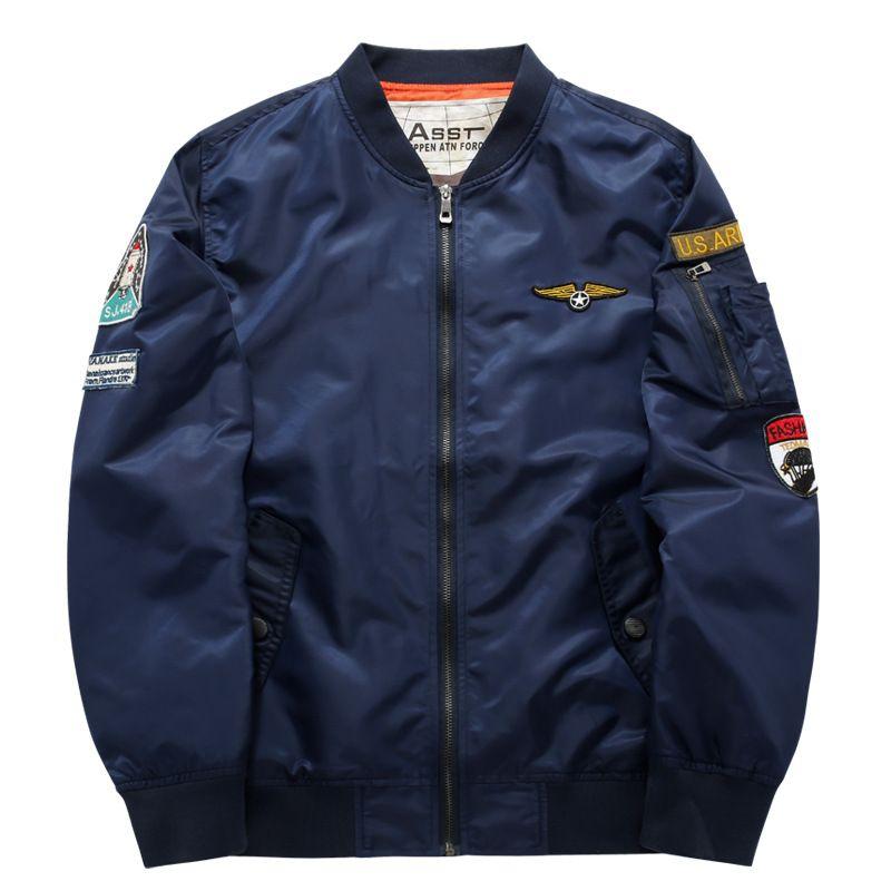 Men Bomber Flight Pilot Jacket Coat Thin Navy Flying Jacket Military Air  Force Embroidery Baseball Uniform Army Green Black 6XL Fashion Jacket Mens  Jacket ... 9537c8be856