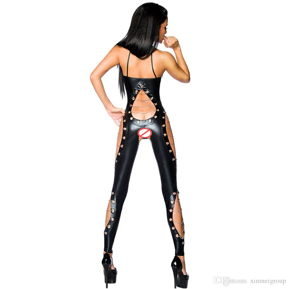 2725309f7af44 2019 Women Sexy Sleeveless Faux Leather Jumpsuit Halter Chain Lace Up  Bodysuit Wetlook Overall Cutouts Gothic Catsuit Jumpsuits W870559 From  Xinmeigroup, ...