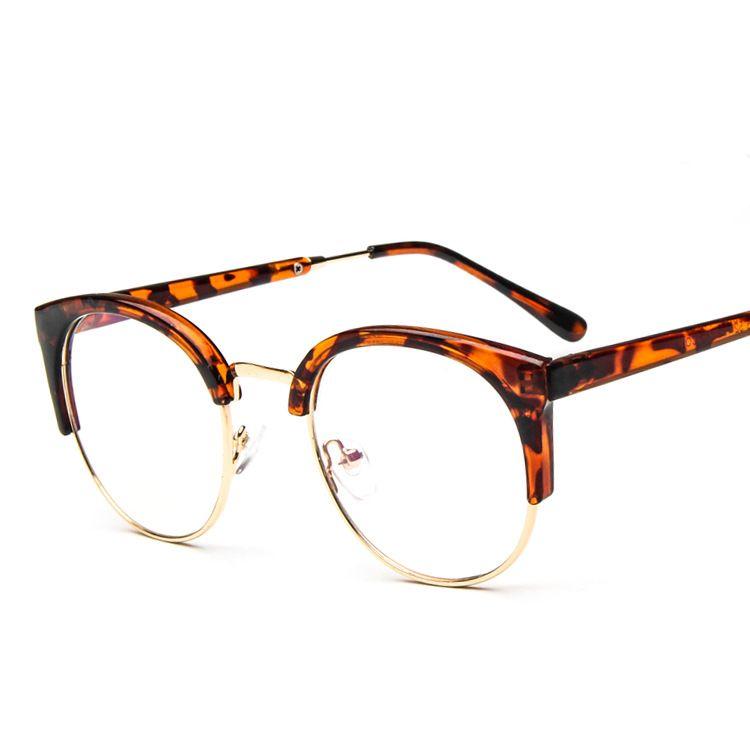 29227a376e06 Women Vintage Glasses Frame Plain Mirror Big Round Metal Optical ...