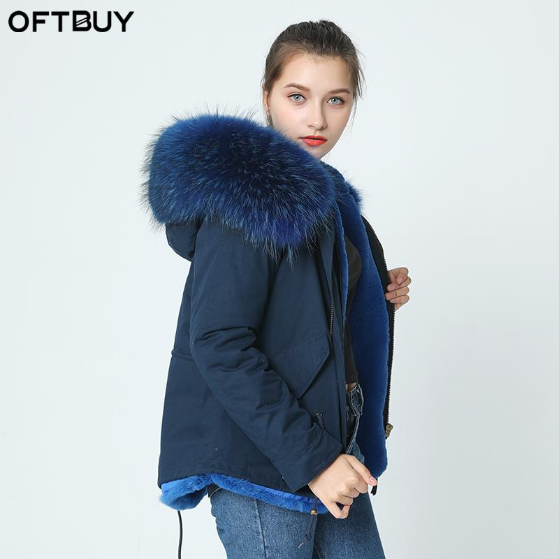 0fa420e529ac 2019 OFTBUY 2017 Navy Parka Winter Jacket Coat Women Real Fur Coat Parkas  Natural Raccoon Fur Collar Hooded Warm Soft Faux Liner From Caesarl