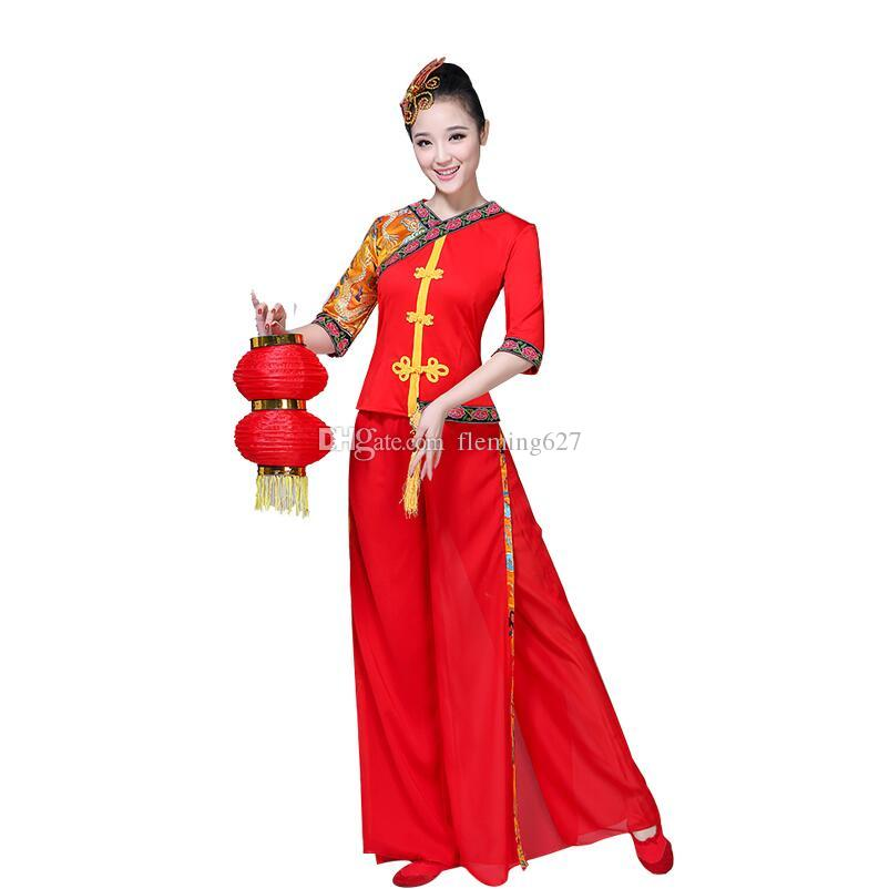 be555d41412 Women Classic Yangko Dance wear red lantern Dance Dress Ancient Chinese  National clothes Chinese New Year festival Dance Costume