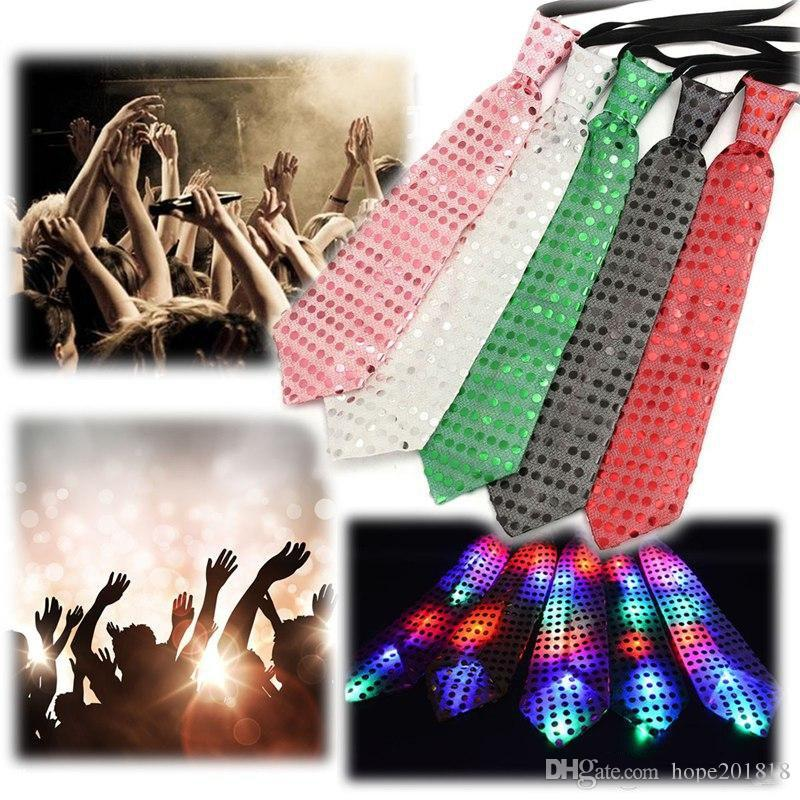 New Fashion Light Up LED Luminous Sequin Neck Ties Changeable Colors Necktie Led Fiber Tie Flashing Tie For Male/Female Vestidos