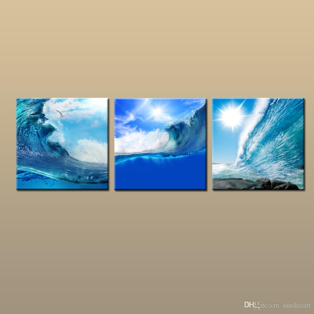 Framed/Unframed Hot Modern Contemporary Canvas Wall Art Print Sunset Wave oil painting Seascape Picture 3 piece Living Room Home Decor ab404