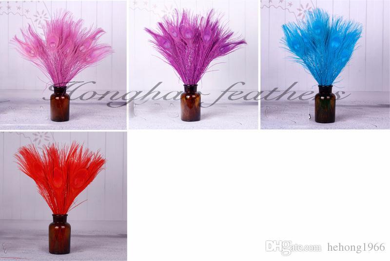 plumas coloridas del pavo real 25 y 30 cm Longitud Partido Para natural de la pluma del escritorio del hogar decoración única 1 1HX Z