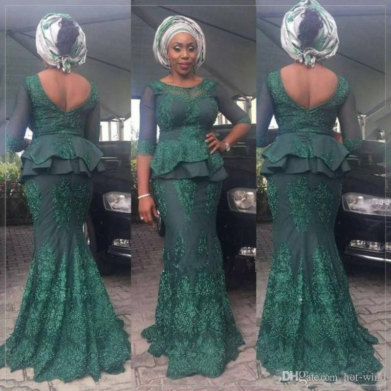 African Hunter Green Sheath Long Prom Dresses Lace Appliqued Half Long Sleeves Peplum Formal Evening Gowns Vintage Black Girls Wear