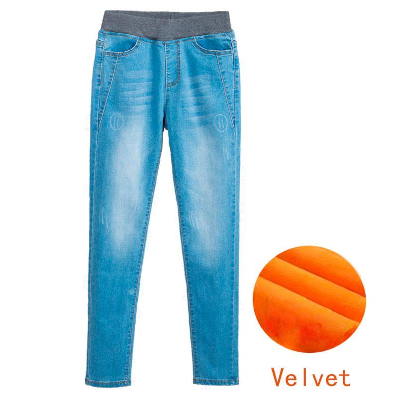 f310aecfdde Women Winter Autumn Warm Plus Velvet Jeans Plus Size 3XL 4XL 5XL ...