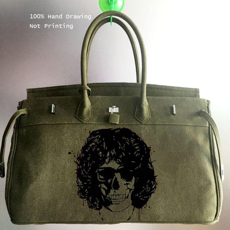 d85f43cadc56 2018 Fashion Big Crossbody Bags For Men Messenger Bags Hand Painted  Graffiti Pop Rock Skull Male Travel Handbags Canvas Satchel Travel Bags For  Men ...