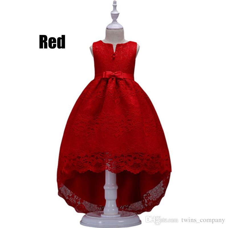 Ragazze vestono ragazze Abiti da festa Baby senza maniche Tutu Abiti da principessa Flower Bambini Trailing vestiti 3-12Y