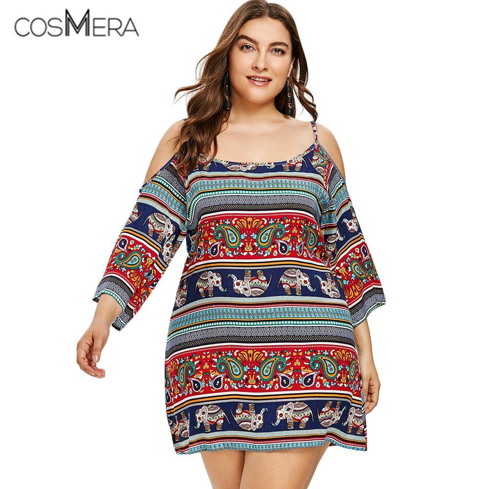 CosMera Casual Plus Size Spaghetti Strap Open Shoulder Ethnic Mini ...