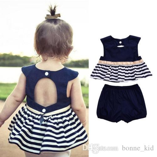 da2a5c1a96a 2019 2018 Fashion Newborn Baby Girl Navy Blue Dress Backless Top+Striped  Pants Outfit Baby Clothes Set 0 24M From Bonne kid