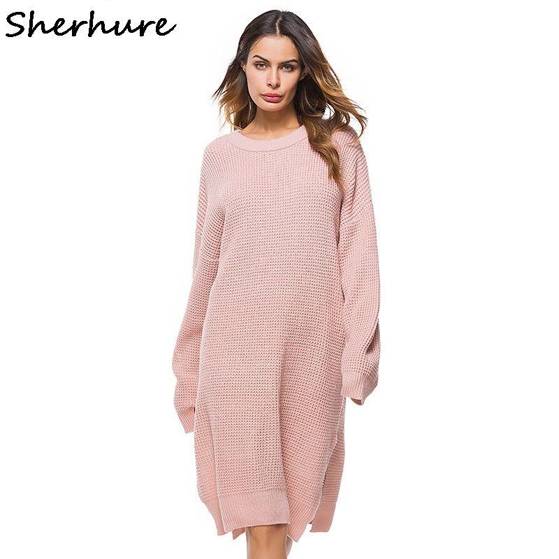 c5c289210b 2018 donne allentate rosa maglione diviso orlo donne lungo maglione abito  oversize pullover a maglia inverno femme tricot