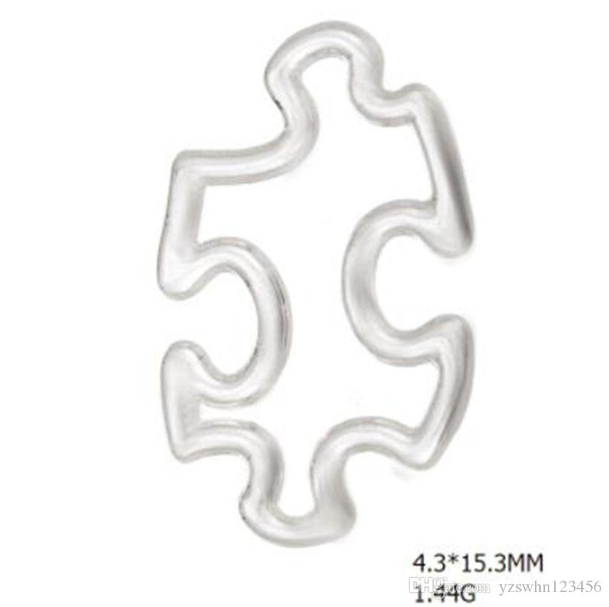 Silver Plated Autism Awareness Puzzle Piece Pendant Charms Shapes Open Wire Connectors for Bracelet & Bangle