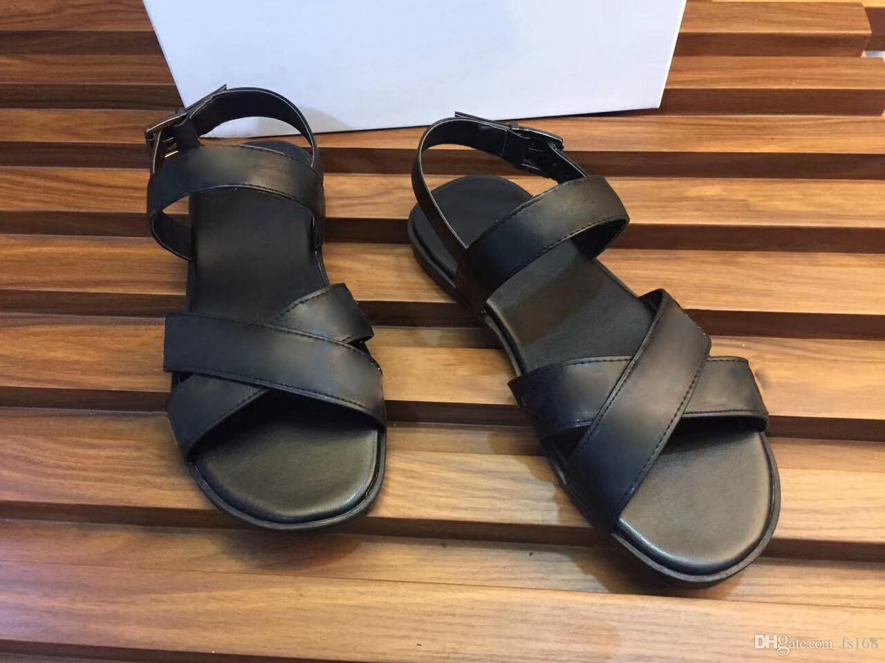 Fashion mens striped sandals sup reme Scuffs causal Non-slip summer huaraches slippers BEST QUALITY Free Delivery for cheap price n7mbEiG