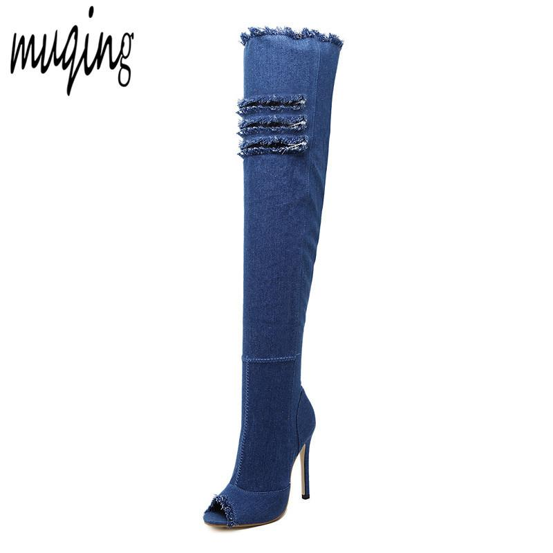 8c8ac91b234 2018 New Fashion Women Hole Denim High Heels Over The Knee Boots Spring  Summer Sexy Peep Toe Thigh High Boots Hot Botas WO177 Boots Pharmacy Chukka  Boots ...