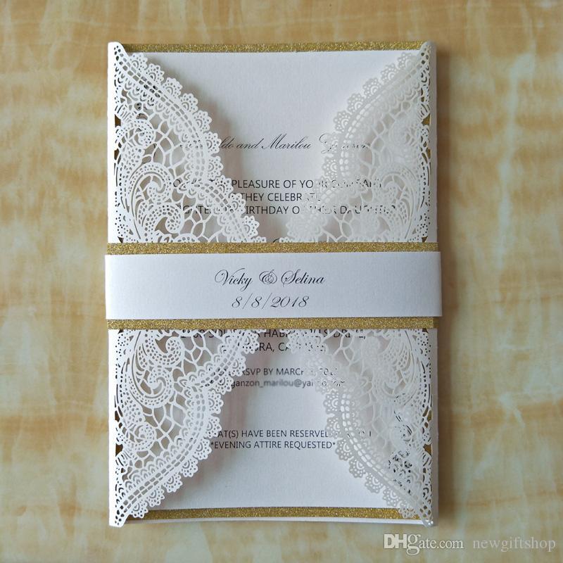 Elegant Wedding Invitations: Elegant Wedding Invitations Customized Laser Cut Flower