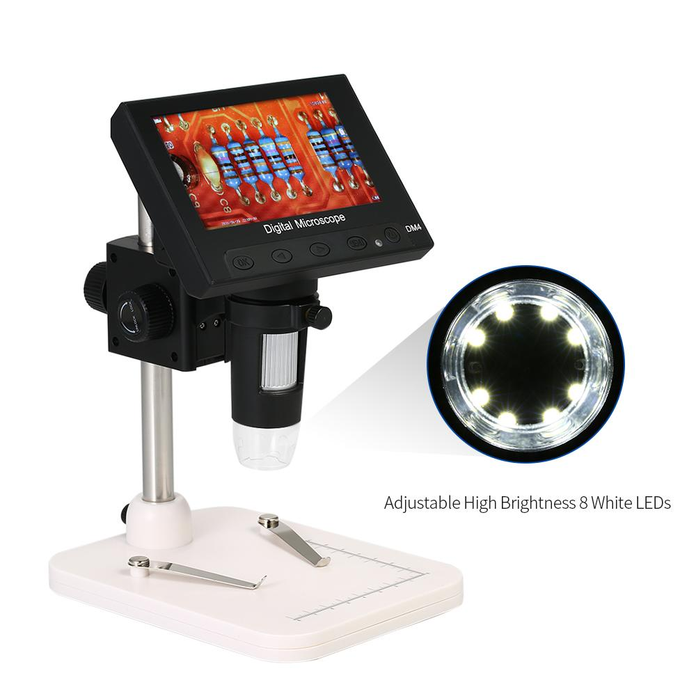 "1000X 4.3"" LCD Display Portable Microscope 720P LED Digital Magnifier with Light Holder for Circuit Board Repair Soldering Tool"