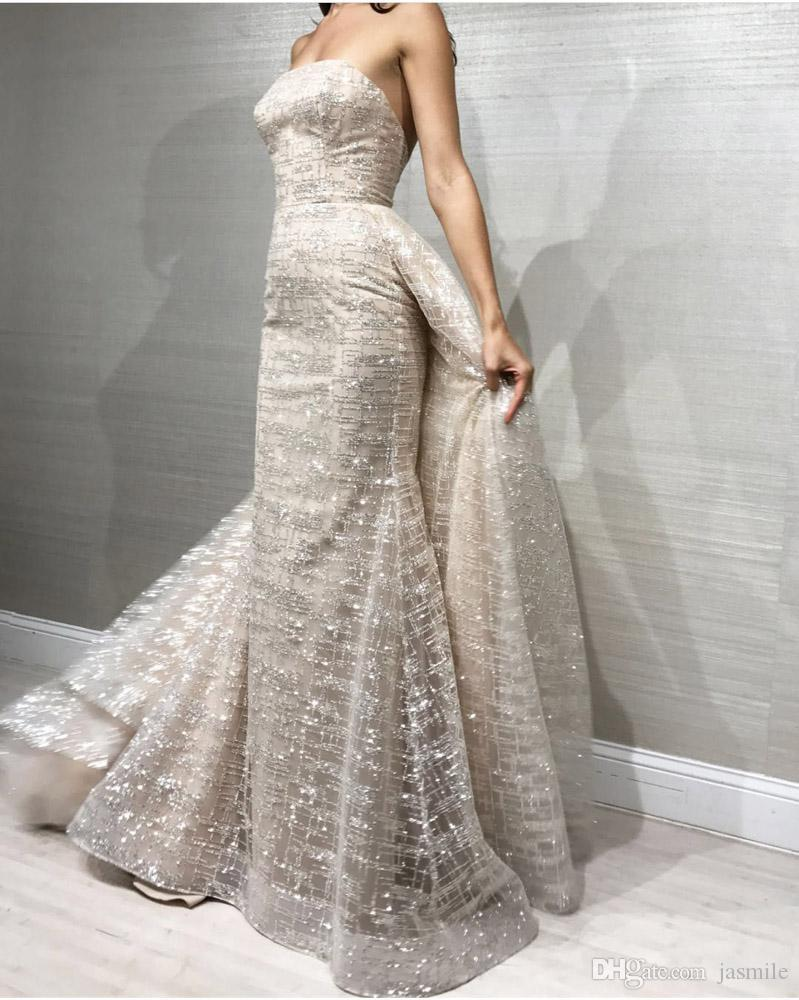 New Two Detachable Train Evening Dress Strapless Elegant Shining ...