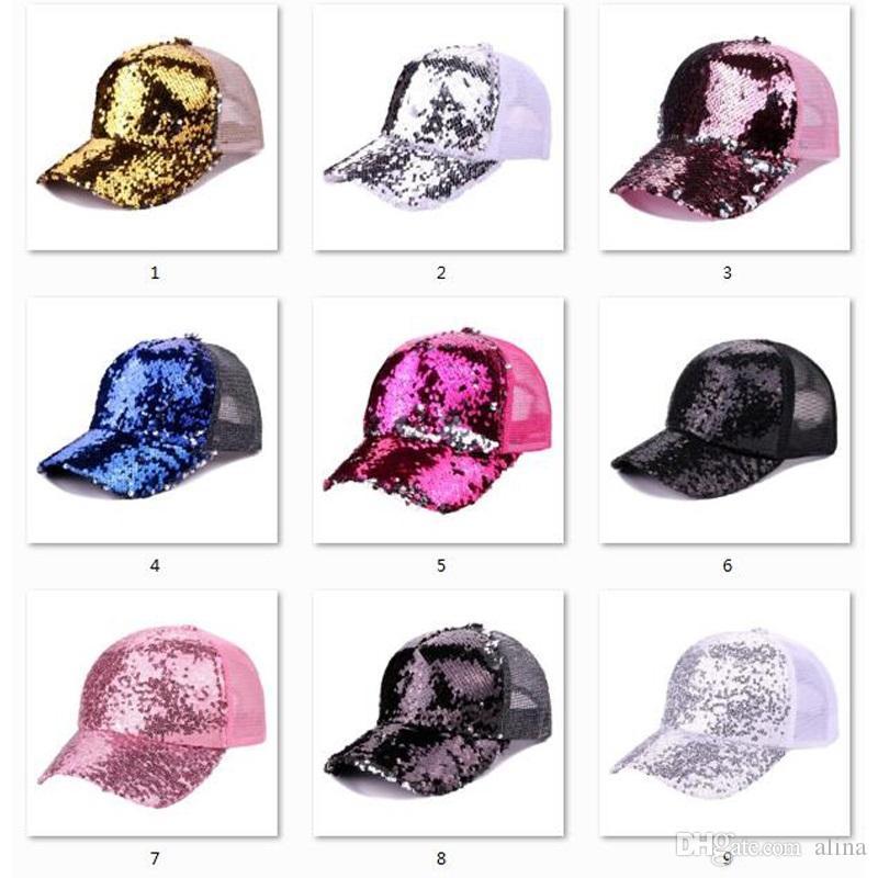 c889bb15e8e Hot Sale Sequins Baseball Cap Women Girls Adjustable Shinning Mesh ...