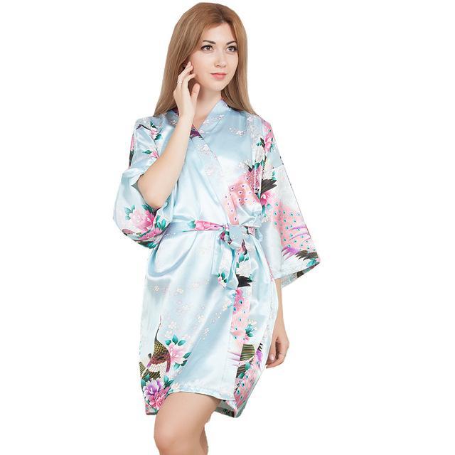 20a3d6b8163c3 Acheter Femmes Satin Court Chemise De Nuit Kimono Robe Floral Peignoir De Nuit  Robe De Mariage De Mariée Demoiselle D honneur Sexy Robe De Chambre  Homewear ...
