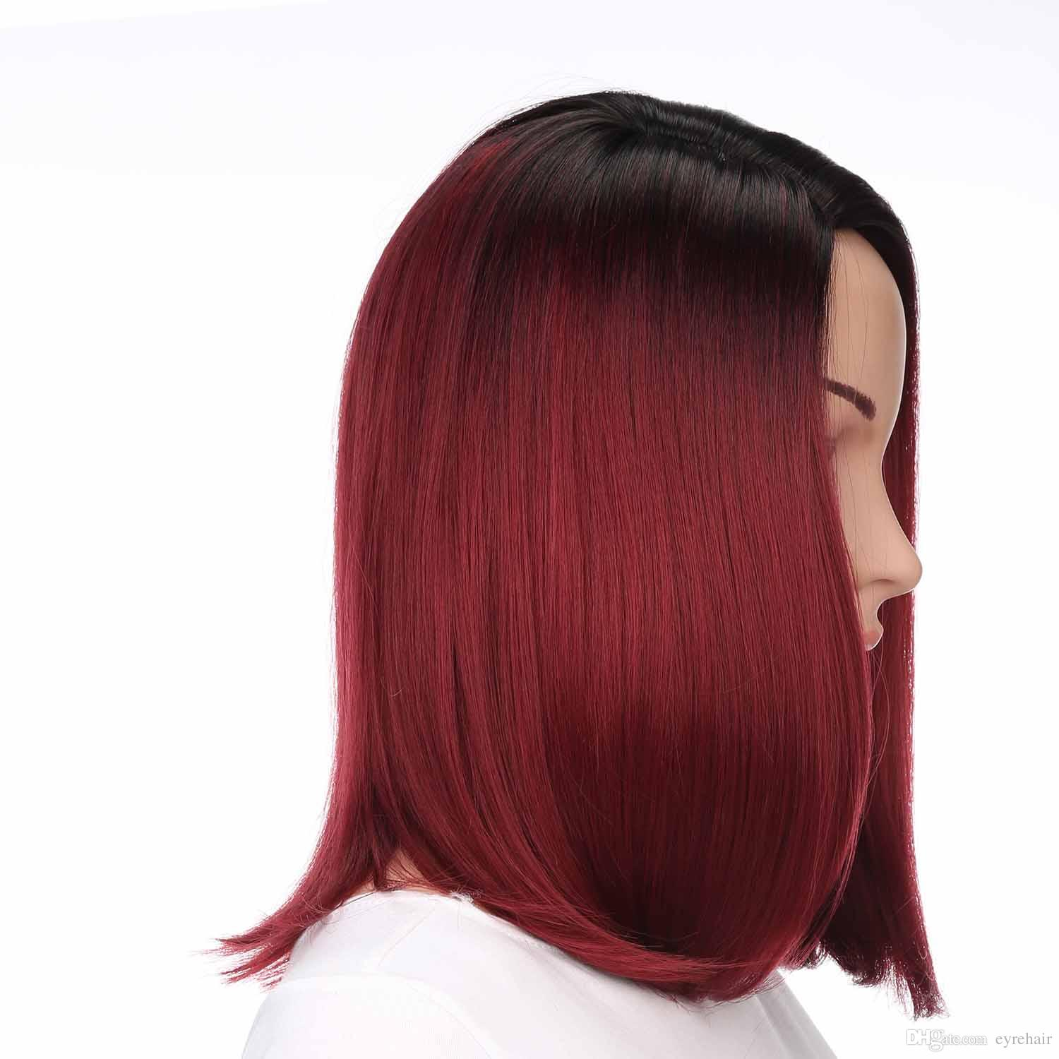 Ombre Black to Red Curlved Straight Synthetic Bob Wigs Side Part Full Head Lolita Short Synthetic Red Wigs