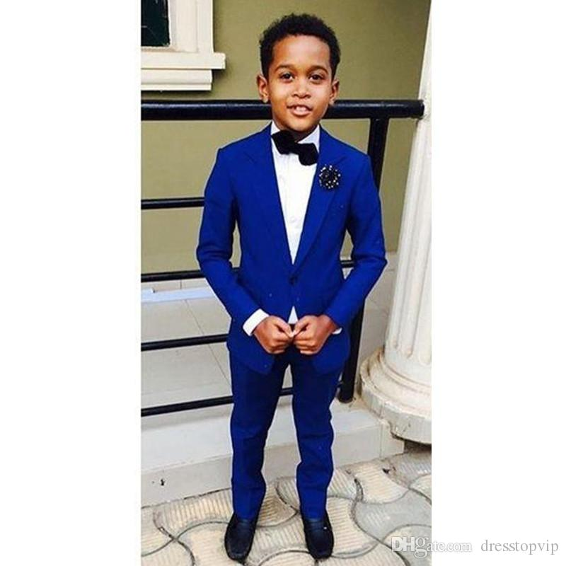 Bridalaffair Handsome Jacket Pants 2 Pieces Set Royal Blue Boys Suits for Wedding Dinner Formal Suits for Children Kids Tuxedos