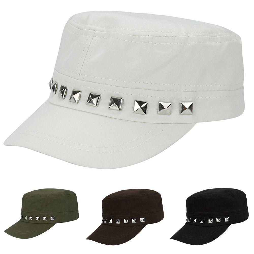 0dba28924b557 Hats Caps Men High Quality Cotton Adjustable Classic Plain Vintage Army  Cadet Cotton Cap Rivets Hat Summer Hat Men Hats Zephyr Hats From Mudiaolan