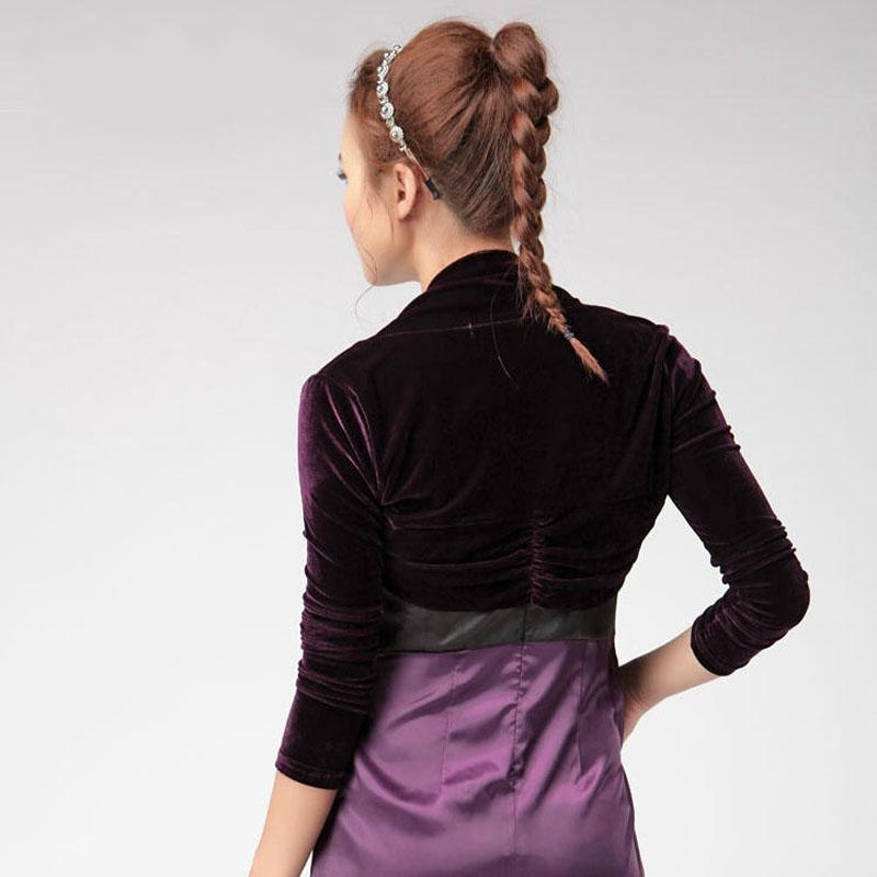 2016 Spring Autumn Women Small Shawl Velour Short Cardigan Boleros Long Sleeve Crochet Jacket Female Solid Thin Cardigan W004