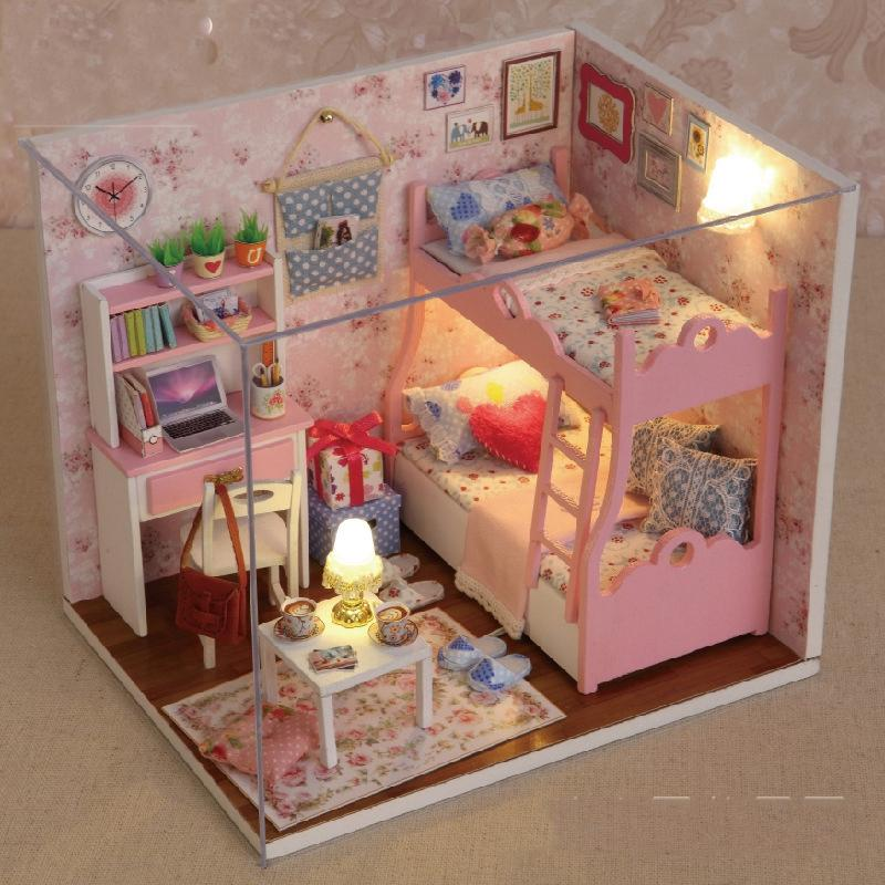 Attractive Handmade Doll House Furniture Miniatura Diy Doll Houses Miniature Dollhouse  Wooden Toys For Children Grownups Birthday Gift Madeline Doll House Cheap  Big ...
