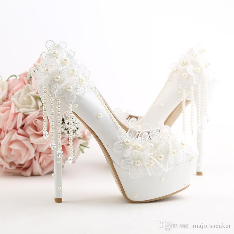 06f710f0cee7 New Women Wedding Pumps PU Leather High Heels Pumps 10 12 14 CM Pointed Toe Shoes  Woman Sexy Wedding Shoes White Comfort Shoes Mens Boat Shoes From ...