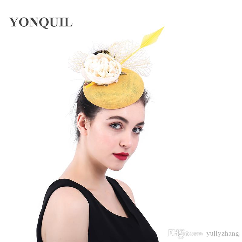 Fascinators for women elegant facncy floral pillbox hat veils married bridal party tea hair accessories fascinator hat chapeau SYF372