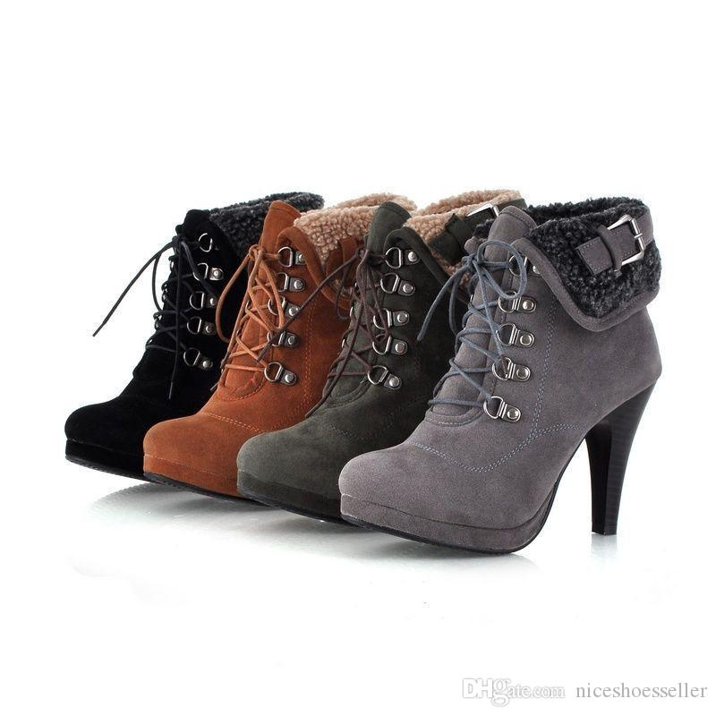f6f564f024a Sexy Lace Up Short Ankle Boots For Women Platform High Heels Buckle ...