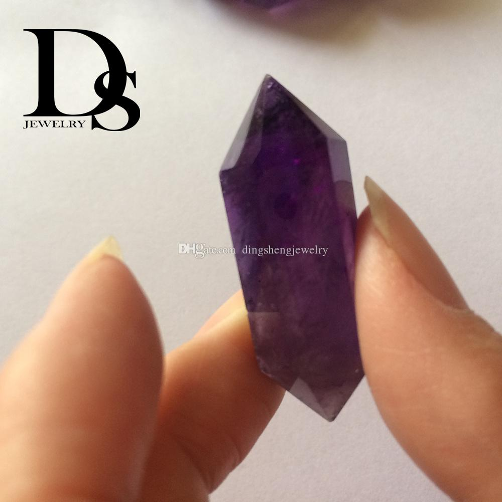 Amethyst Wand Natural Prism Purple Crystal Points Double terminated Charms Reiki Crafts Fengshui Birthday Holiday Healing Gifts