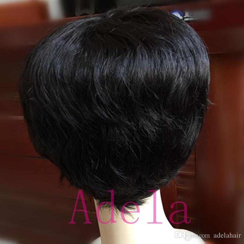 Celebrity Cheap Pixie Cut Human Ninguno Peluca de encaje sin cola Peluca muy corta Natural Negro Pelucas de cabello peruano para mujeres negras
