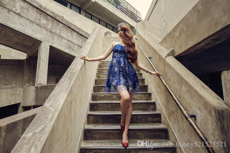 New fashion women's sexy spaghetti strap navy blue paillette shinny bling stars pattern gauze high waist ball gown dress short vestidos