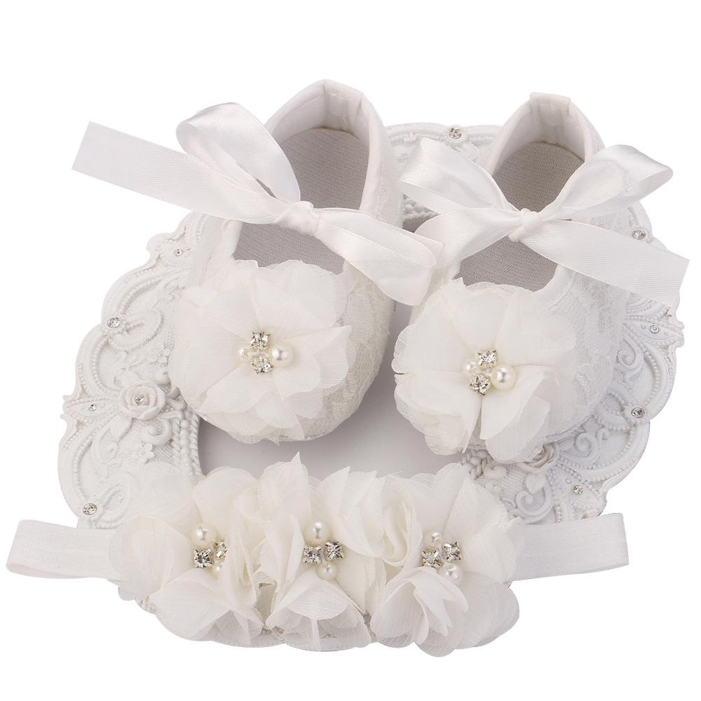 10d5f2eec21f 2019 Ivory Newborn Booties Baby Girls Shoes Toddler Infant Girls Rhinestones  First Walker Baby Shoes Ballerina Baby Baptism Set From Babymom