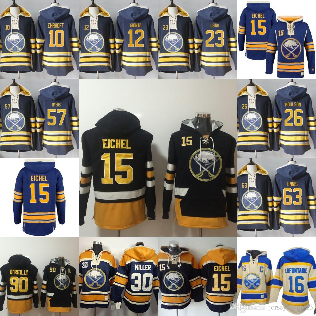best sneakers 3485b 57387 Mens Buffalo Sabres 90 Ryan O'Reilly 12 Brian Gionta 15 Jack Eichel 23  Ville Leino Hoodie Authentic Hockey Hoodies Stitched Sweatshirts